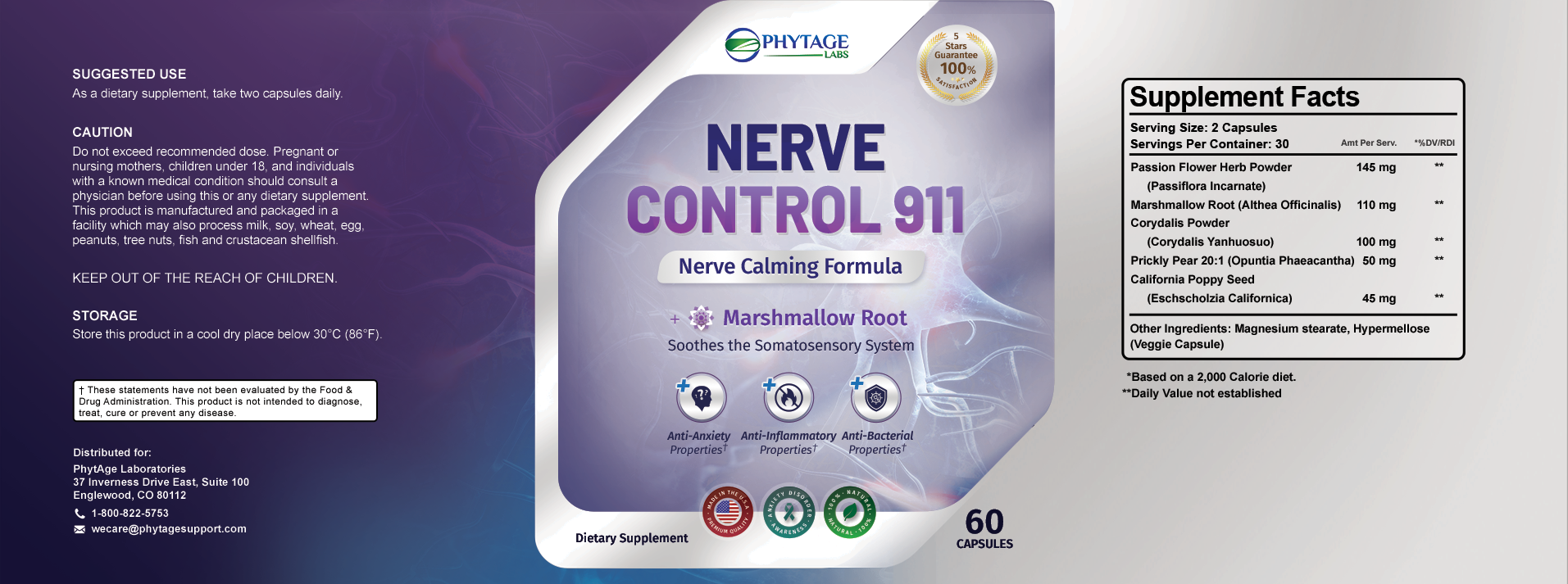 Phytage Nerve Control 911 Ingredients